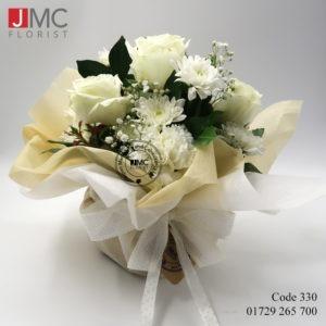 White Elegant Flower Basket- JMC Florist 330 b